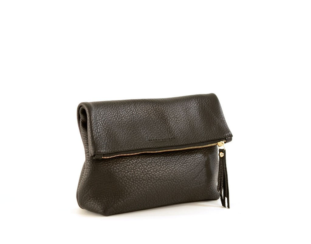 Black Leather Fold Over Clutch- Tre Clutch