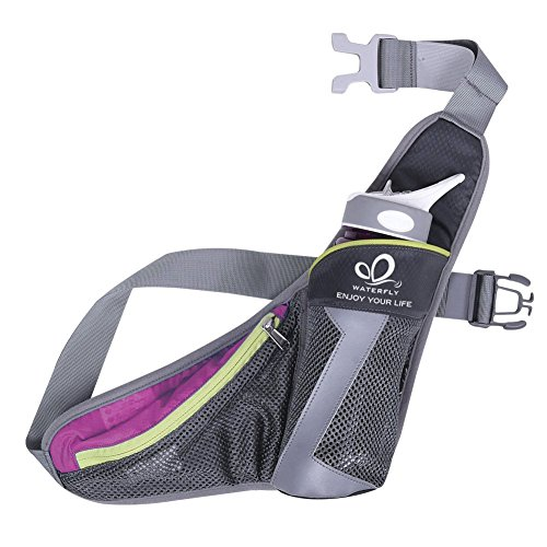 WATERFLY Running Belt Waist Bag with Water Bottle Holder for Phone 5.5 inch iPhone 6 / 7Plus / (Phone Water)