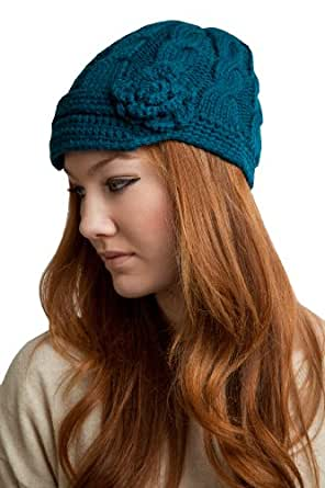 2914 Dark Teal Hand Knitted Hat with Short Soft Visor with Flower