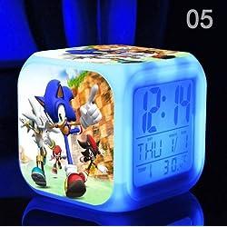Sonic The Hedgehog Cartoon Game Action Figure LED Light Clock 7 Colors Change Digital Alarm LED Clock Colorful Toys for Kids (Style 5)