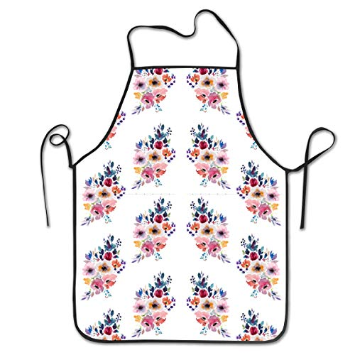FUNINDIY Bib Apron Fall Flower Watercolor Bouquet Kitchen Apron Waterproof for Cooking Chef Baker Servers BBQ Craft Men Or Women 20