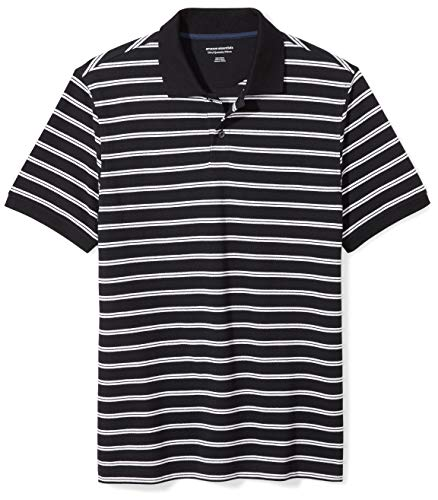 Amazon Essentials Men's Slim-fit Cotton Pique Polo Shirt, Black Stripe, Small