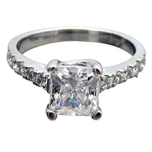 SR00825 .925 Sterling Silver 1.5ct tw 1ct Princess Cut Clear CZ Solitaire Ring With Pave Accent Stones