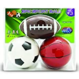 NDN LINE Set of 3 Rubber Sports Playground Balls 5' Soccer Ball, 5' Basketball, 6.5' Football for Kids and for Schools