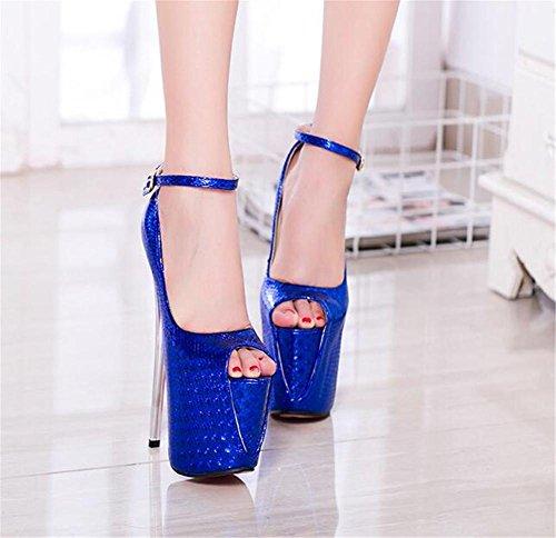 xie Chaussures pour femmes Talon aiguille Fête et soirée Sangle de cheville club Plate-forme Des sandales Pompes Taille 35 à 41 BLUE-EU35 XhMlB6O