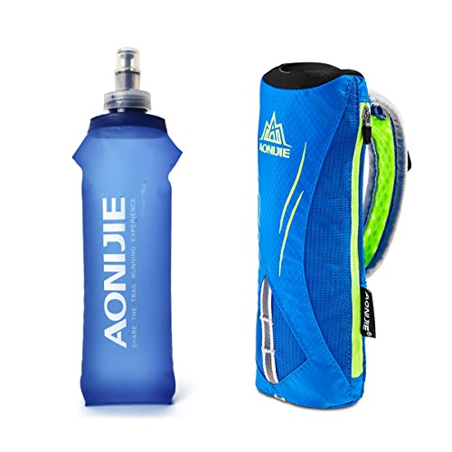 Geila Handheld Water Bottle for Running, 17 oz Grip Handheld Bottle with Hand Strap Hydration Pack, BPA Sport Soft Flas(Blue)