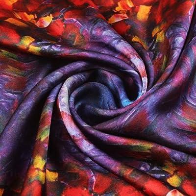 FLYRCX Les femmes Foulard en Soie de mûrier naturel multi purpose imprimer chers foulard cadeau de luxe 90cmx90cm