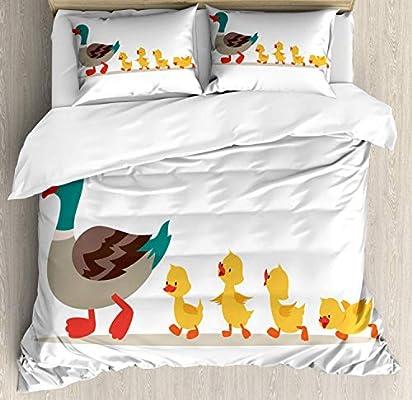 Juego de funda nórdica de pájaro amarillo, encantador diseño de ...