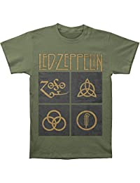 Led Zeppelin Men's Black Box Symbols T-shirt XX-Large Army