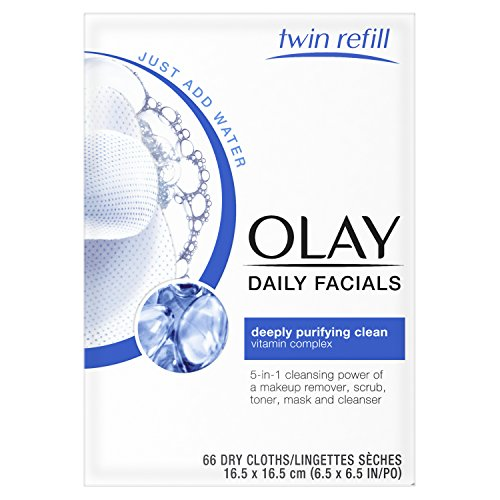 Daily Eye Makeup Remover - Olay Daily Facials, deeply purifying clean & 5-in-1 Cleansing power of a makeup remover, scrub, toner, mask and cleanser 66 Dry Cloths