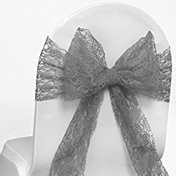 MDS Pack of 125 Lace bow Lace Chair Sashes / Bows sash for Wedding or Events Banquet Décor Party Supplies Chair lace sash - silver gray