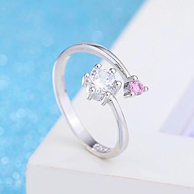 Cosanter 1 par moda anillo de diamante en forma redonda elegante cristal anillos ajustables joyería de la boda para pareja novia: Amazon.es: Joyería