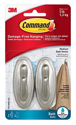 Command Traditional Plastic Bath Hooks Value Pack, Medium, Brushed Nickel, 2-Hooks (17051BNB-2ES) (No Bath Wall Color)