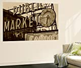 View of Public Market Neon Sign and Pike Place Market, Seattle, Washington, USA Wall Mural by Walter Bibikow 48 x 72in