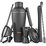 VonShef Matte Black Parisian Cocktail Shaker Set in Gift Box with 17oz Shaker, Muddler, Bar Spoon, Jigger, Hawthorne Strainer, Julep Strainer, Bottle Pourers and Recipe Book