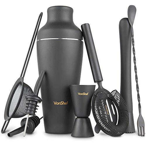 VonShef Matte Black Parisian Cocktail Shaker Set in Gift Box with 17oz Shaker, Muddler, Bar Spoon, Jigger, Hawthorne Strainer, Julep Strainer, Bottle Pourers and Recipe - Essentials Shaker Dining