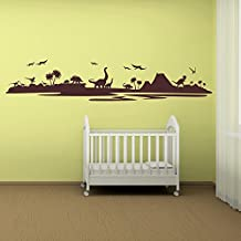 Dinosaur Silhouette Landscape Dinosaur Wall Stickers Childrens Bedroom Art Decal available in 5 Sizes and 25 Colours Large Nut Brown