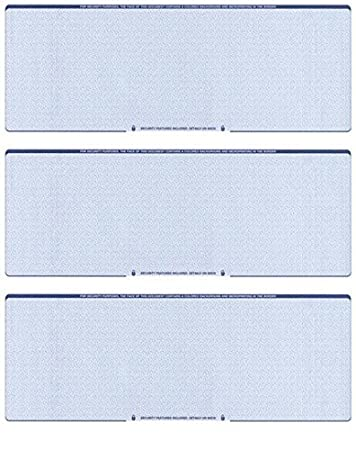 Amazon.com : Blank Checks Paper Stock-Checks 3 On A Page-100 Per ...