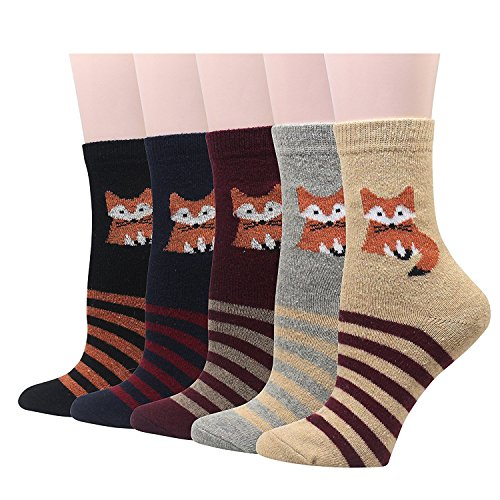 5 Pairs Of Womens Casual Comfortable Cotton Crew Socks Cute Fox