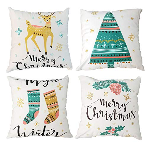 Gspirit Set of 4 Throw Pillow Covers 18x18 Inches, Decorative Square Pillowcases Cotton Linen Cushion Cover for Room Sofa Bed Car (Yellow)