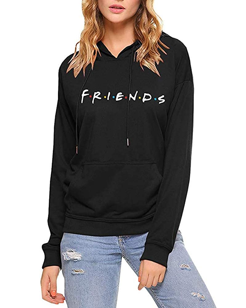 3b66d00e LHAYY Friends Women's Casual Loose Top Cotton Friends Letters Print  Pullover Sweatshirt Hoodie