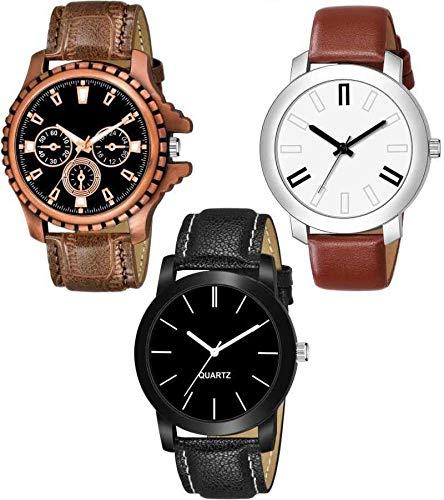 LEVERET Men #39;s Stylish Attractive Chronograph Pattern Designer Sett Analog Watch   Combo of 3