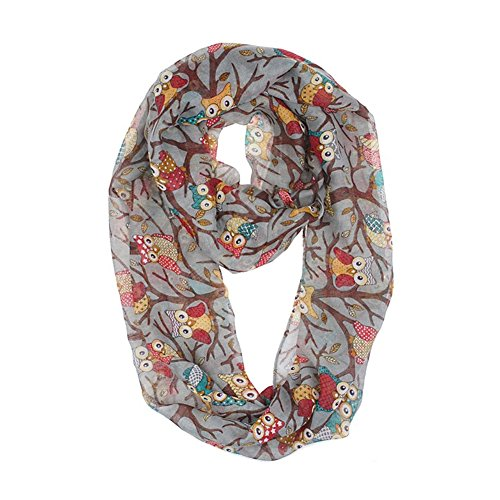 MissShorthair Soft Light Weight Cartoon Owl Sheer Scarf Shawl Wrap (Gray) (Dollar Scarves)