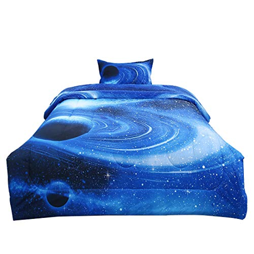uxcell Twin 2-Piece Galaxies White Blue Comforter Sets - 3D Space Themed - All-Season Down Alternative Quilted Duvet - Reversible Design - Includes 1 Comforter, 1 Pillow Case