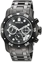 Invicta Men's 'Pro Diver' Quartz Stainless Steel Automatic Watch, Color:Black (Model: 21926)