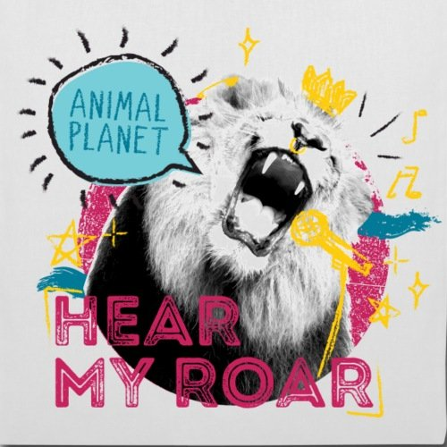 Spreadshirt Animal Planet Löwe Brüllt Hear My Roar Stoffbeutel Weiß