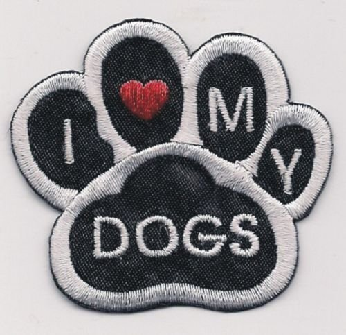 Applique Patches Mini Black White I Love My Dogs Animal Paw Print Embroidery Applique Patch 1 3/4