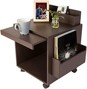 Fairylove Rolling Storage Cabinet Functional Wooden Bedside Table with Wheels Stand Laptop Desk Open Shelf Coffee Table for Living Room Bedroom