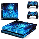Golden Blue Skull Skin Stickers for PlayStation 4 PS4 Console + 2 Controller Decals(Size 0045)