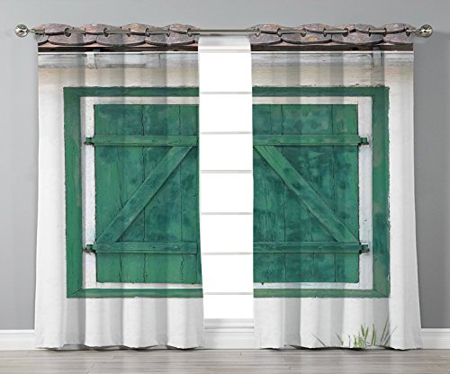Satin Grommet Window Curtains,Shutters Decor,Retro Wooden Window and Shutters Image Traditional Countrside Cottage Home Boho Print,Teal Grey,2 Panel Set Window Drapes,for Living Room Bedroom Kitchen C from iPrint