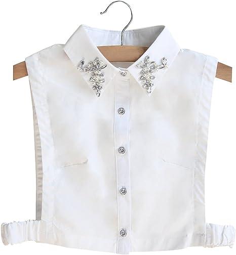 BeToper Mujeres Cuello Desmontable Mitad Camiseta Blusa en algodón ...