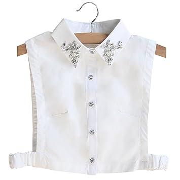 BeToper Mujeres Cuello Desmontable Mitad Camiseta Blusa en algodón Color Blanco: Amazon.es: Deportes y aire libre