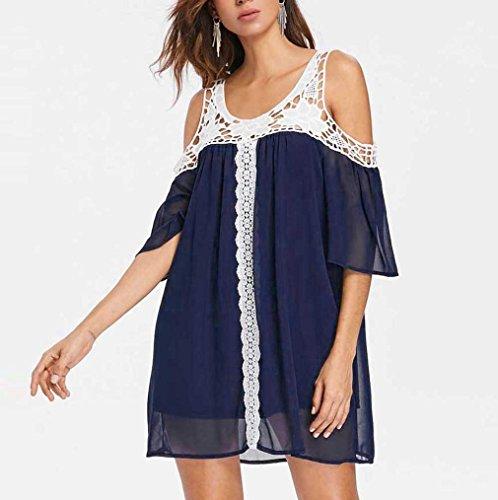 ZIYOU Damen Große Größen T-Shirts Tops Minikleid Off-Shoulder Kleider  Frauen Mode Kurzarm ... 3d910d68d9