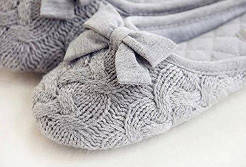 Color Gris Gris Chaud Femmes Décoration Bowknot Knit Mode Minetom Et Solid Chaussons Doux O1qRR