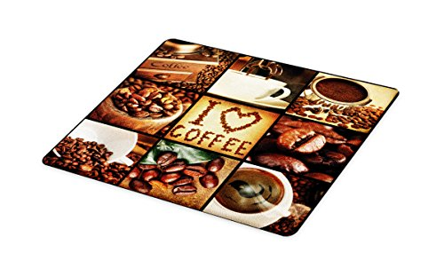 Lunarable Brown Cutting Board, I Love Coffee Theme Collage Roasted Beans Brewing Machines and Cups Aromatic Drink, Decorative Tempered Glass Cutting and Serving Board, Small Size, Brown White