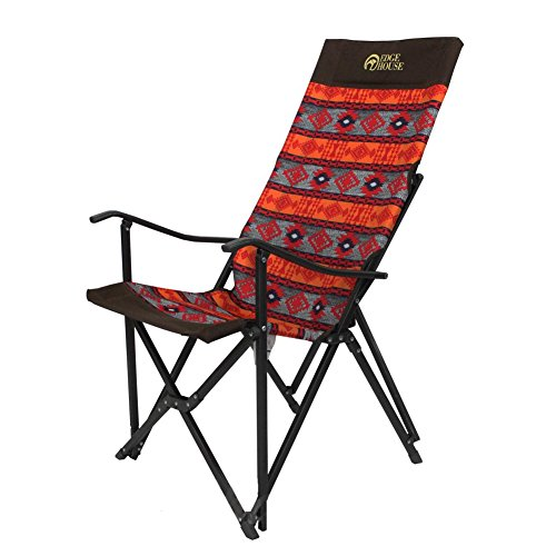 [EDGE HOUSE] High long two fold fabric Relax Chair Indian Pattern in Outdoor EHA-57 & Free Gift (Key Ring) (Orange&Red) by EDGE HOUSE