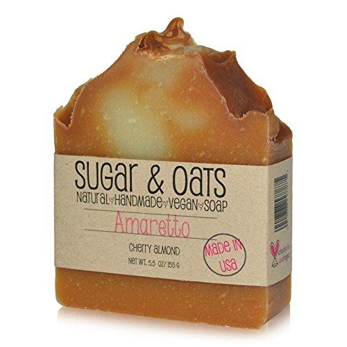 (Amaretto Cherry Almond Vegan Sensitive Skin Soap, Sugar and Oats, Amaretto Almond Body Cleanser Vegan Soap, Shea Butter, Olive Oil, Rice Bran Oil,Palm Free Bar Soap, Cold Process Skincare. Made in USA)