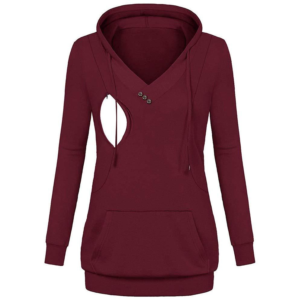BOLUOYI Women's Nursing Long Sleeves Pockets Tops Breastfeeding Hoodie Sweatshirt
