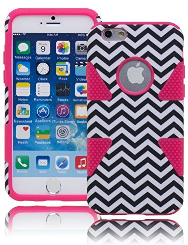 """iPhone 6 Phone Case, Bastex Heavy Duty Soft Hot Pink Silicone Cover Hard Black and White Chevron Dynamic Design Case for Apple iPhone 6, 4.7"""""""