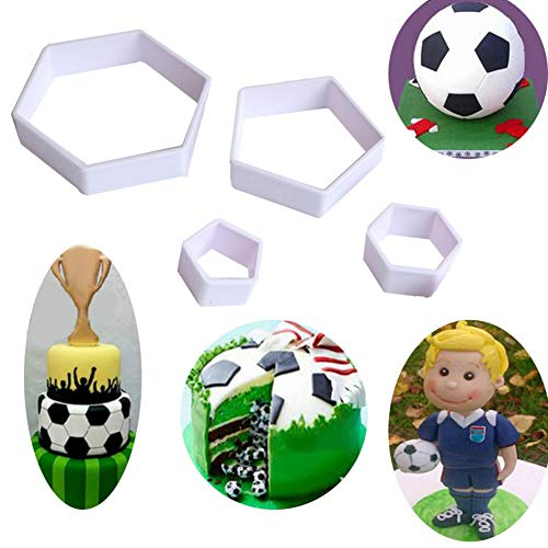 (Set of 4)Sakolla The Easiest Soccer/Football Cookie Ever Cutter Set Stadium Player World Cup Master Chart Cake Decoration Gumpaste Fondant Mold