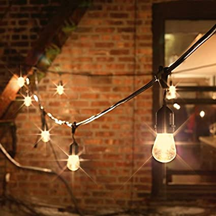 Amazon outdoor patio string lights commercial grade 48 ft outdoor patio string lights commercial grade 48 ft strand with 15 edison style bulbs aloadofball Gallery