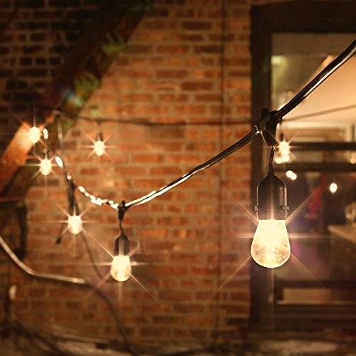 48 Ft. Outdoor String Light with 15 Edison Style Bulbs, Connectable, Waterproof, ETL Listed by LampLust