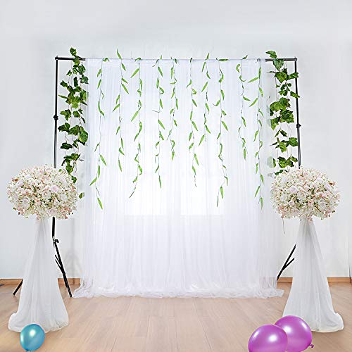 Pair Polyester Curtains - White Tulle Backdrop Curtains for Baby Shower Wedding Photography Background for Birthday Party Supplies Decorations (5 ft X 7 ft)