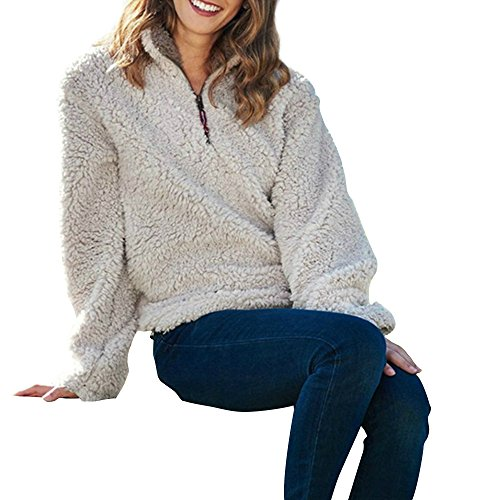 Huiyuzhi Unisex Wool Pebble Pile 1/4 Zip Outfits Fleece Pullover (L, - Quarter Pullover Zip