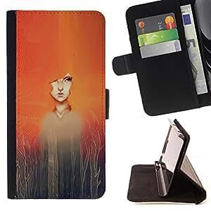"""For HTC Desire 626 626w 626d 626g 626G dual sim,S-type Pintura de la acuarela de la muchacha Redhead"""" - Dibujo PU billetera de cuero Funda Case Caso de la piel de la bolsa protectora"""