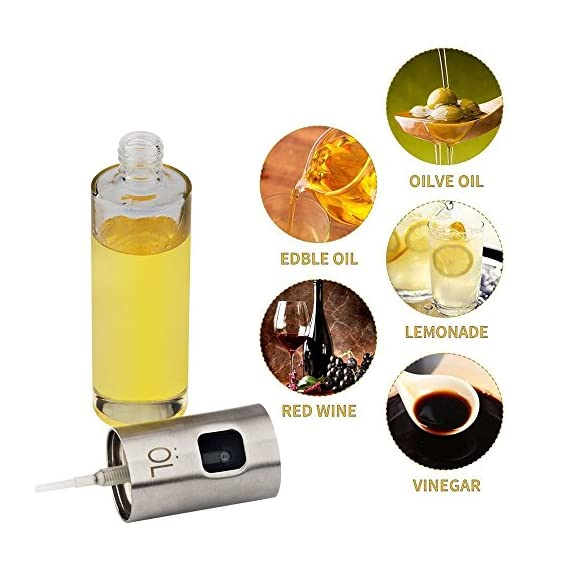 Evoio Portable Cooking Spray Bottle Olive Oil and Cooking Balsamic Vinegar Soy Sauce Wine Spray Premium 304 Stainless Steel Grilling Oil Bottle 100ml for Grilling Salad Bread Baking Barbecue 6 MULTI-PURPOSE USE: Fill this sprayer with your favorite oils, sunflower oil, vinegar, soy sauce, lemon and lime juice, sherry or marsala wine. Perfect for spraying ingrediants instead of using a brushes when roasting, sauteing, baking, cooking. ENVIRONMENTALLY: The pump oil sprayer is completely BPA-free, and you also get to avoid the harmful aerosol found in a pre-packed oil sprayer, gives you the convenience and health benefits in a more economical and environmental form. EASY TO USE: Pour oil into the container, simply pump the cap then press the valve on the pressurized sprayer for an even mist, more uniform in spraying and allows you to always get the right amount of salad dressing and cut on the calories.